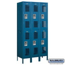 Salsbury Industries 72368BL-A Vented Metal Locker - Double Tier - 3 Wide - 6 Feet High - 18 Inches Deep - Blue - Assembled