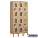 Salsbury Industries 72368TN-A Vented Metal Locker - Double Tier - 3 Wide - 6 Feet High - 18 Inches Deep - Tan - Assembled