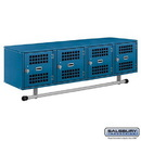 Salsbury Industries 77704BL Wall Mounted Metal Locker - Box Style - 4 Vented Doors - 48 Inches Wide - 12 Inches High - 12 Inches Deep - Blue - Assembled