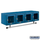 Salsbury Industries 77714BL Wall Mounted Metal Locker - Box Style - 4 Window Doors - 48 Inches Wide - 12 Inches High - 12 Inches Deep - Blue - Assembled
