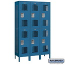Salsbury Industries 82368BL-A Extra Wide Vented Metal Locker - Double Tier - 3 Wide - 6 Feet High - 18 Inches Deep - Blue - Assembled