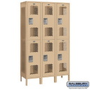 Salsbury Industries 82368TN-A Extra Wide Vented Metal Locker - Double Tier - 3 Wide - 6 Feet High - 18 Inches Deep - Tan - Assembled
