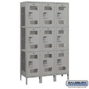 Salsbury Industries 83368GY-A Extra Wide Vented Metal Locker - Triple Tier - 3 Wide - 6 Feet High - 18 Inches Deep - Gray - Assembled