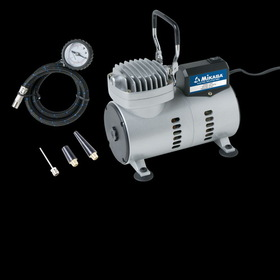 Mikasa Steel constructed air inflator includes pressure gauge, hose,  needle and valve adapters. 1/8 HP, 110V/60 HZ, 40PSI.