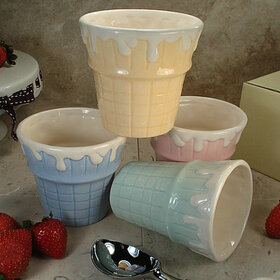 Marilena Imports CC781-4 - Set Of 4 Cone Ceramic Ice Cream Cups Assorted Colors