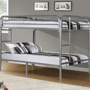 Monarch Specialties I 2233S Silver Metal Full / Full Bunk Bed Only