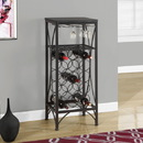Monarch Specialties I 3347 Home Bar - Black Metal Wine Bottle And Glass Rack, 16'' x 12'' x 41''