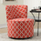 "Monarch Specialties I 8132 Coral "" Lantern "" Fabric Accent Chair With Swivel Base"
