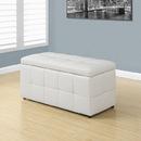 Monarch Specialties I 8985 Ottoman - Storage / White Leather-Look, 38'' x 17'' x 18''