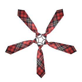 "(Price/5 Pcs)TopTie Kid's Black And Red Plaid Necktie, 10"" Youth Neck Tie"