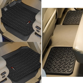 Omix-Ada  All Terrain Floor Liner Kit, Front And Rear, Black, Rugged Ridge, Ford F150 Supercrew, Regular And Extended Cab 04-08; Lincoln Mark Lt 06-08