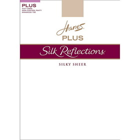 Hanes 00P15 Silk Reflections Plus Sheer Non-Control Top, Enhanced Toe