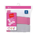 Hanes Girls' No Ride Up Cotton Colored Briefs 3-Pack , 1300WP