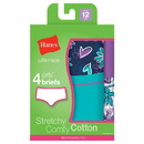 Hanes GUCBP4 Ultimate TAGLESS Cotton Stretch Girls' Briefs 4-Pack
