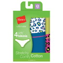 Hanes GUCKP4 Ultimate TAGLESS Cotton Stretch Girls' Bikinis 4-Pack
