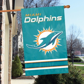 "DOLPHINS, 28"" X 44"" Applique Banner Flags, NFL Merchandise"
