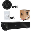 Complete Multi-Zone 40 Watt Amplifier Distributed Audio Bundle with Ceiling Speakers Volume Controls and Wire