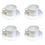 Aspire White Plastic Espresso Cup Set Break-resistant Cappuccino Cups and Saucers, Set of 4