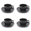 Aspire Black Plastic Tea/Coffee Mugs Set 200ml Break-resistant Mug, Set of 4