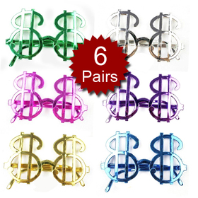 Dollars Gold Money Glasses - Assorted Random Colors, Party Glasses, Price/6 Pairs