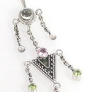 """Painful Pleasures BAN005 14g 3/8"""" Waterfall Sterling Silver Bali Dangle Belly Button Ring"""