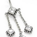 """Painful Pleasures BAN032 14g 3/8"""" Exotic Jewels Bali Sterling Silver Belly Button Ring"""