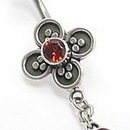 """Painful Pleasures BAN043 Bali Flower 14g 7/16"""" Sterling Silver Navel Body Jewelry"""