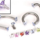 Painful Pleasures derm073-14g 14g - 12g Internally Threaded Jewel Prong-Set Square Top - Price Per 1