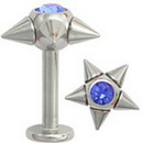 Painful Pleasures JL004 14G 5 Spike Jeweled Labret Ring