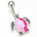 """Painful Pleasures MN0025 14g 7/16"""" Pale Pink Turtle Belly Button Ring"""