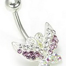 """Painful Pleasures MN0718 14g 7/16"""" Summer Colors Jewel Explosion Butterfly Belly Rings"""