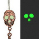 """Painful Pleasures MN0892 14g 7/16"""" Skull-O-Lantern Belly Button Ring"""