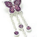 """Painful Pleasures MN0956 14g 7/16"""" Crystal Explosion Double Butterfly Dangle Belly Button Ring"""