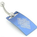 "Painful Pleasures MN1009 14g 7/16"" Blue Shield on Plain Bent Barbell - Protect Belly Ring"