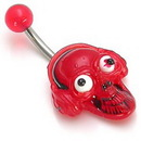 "Painful Pleasures MN1030 14g 7/16"" GOOGLE EYE Red Skull Face Belly Button Jewelry"