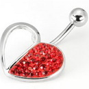 """Painful Pleasures MN1095 14g 7/16"""" Crystal Explosion HALF Filled Heart Belly Ring"""