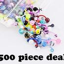 "Painful Pleasures MN1533-deal500 14g 7/16"" Acrylic Ball Flexible PTFE Belly Ring - Price Per 500"
