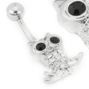 """Painful Pleasures MN1674 14g 7/16"""" OWL Charm Navel with 2 Black Gem Eyes Belly Jewelry"""