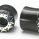 Elementals Organics ORG001 Natural Horn Tunnel Eyelet with Silver Sun Body Jewelry - Price Per 1