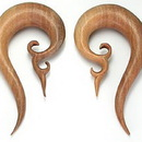 Painful Pleasures ORG060 Beija Flor Natural Wood Earrings Organic Body Jewelry - Price Per 1