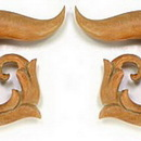 Painful Pleasures ORG068 Red Saba Wood Sprial Vines Hanger Earrings Organic Body Jewelry - Price Per 1