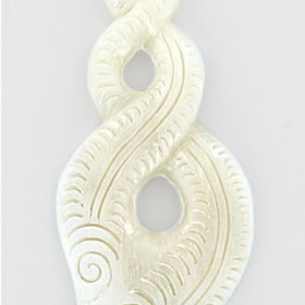"Maori Design Pendant # 5 Bone Pendant With Abalone ""Paua"" - Price Per 1"