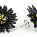 Elementals Organics ORG3001-pair BLACK Leather Flower Earrings Standard Butterfly Clasp - Price Per 2