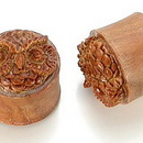 Painful Pleasures ORG351 Give a Hoot Don't Pollute OWL Saba Wood Plug Natural Ear Jewelry 14mm-24mm - Price Per 1