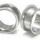 Painful Pleasures P040-PB Single Flared Tunnel with Threaded Knurled Back - Price Per 1
