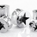 Painful Pleasures P069 Lasered Star Double Flare High Polish Stainless Steel Ear Plugs