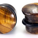 "Painful Pleasures P165 Top Hat BROWN TIGER EYE STONE Plug with Black Oring - 8g - 9/16"" - Price Per 1"
