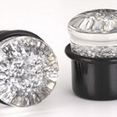 "Painful Pleasures P167 SILVER GLITTER TOP HAT Acrylic Plug with Black Oring - 6g - 5/8"" - Price Per 1"