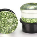 "Painful Pleasures P168 GREEN GLITTER TOP HAT Acrylic Plug with Black Oring - 6g - 5/8"" - Price Per 1"