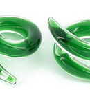 Painful Pleasures P306-pair 2g-0g-00g Twister GREEN Transliquid Glass Jewelry - Price Per 2